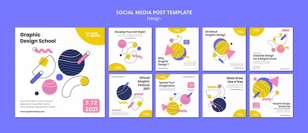 Coleção de postagens do instagram para design gráfico
