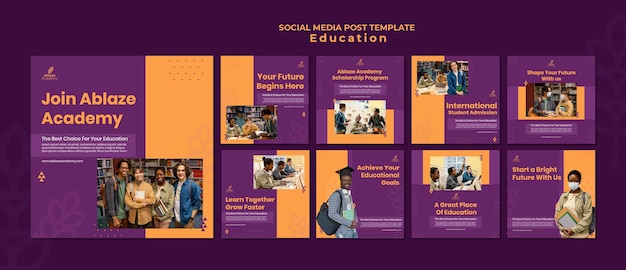 Coleção de postagens do instagram para educação universitária