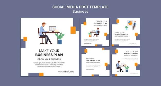 Coleção de postagens do instagram para empresa com plano de negócios criativo