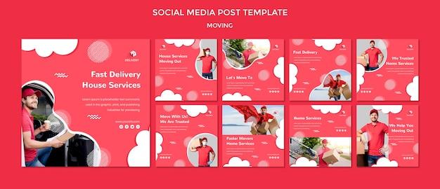 Coleção de postagens do instagram para empresa de mudanças