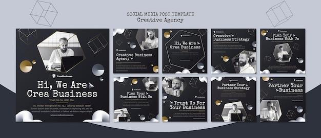 Coleção de postagens do instagram para empresa parceira de negócios