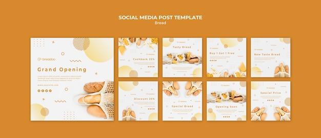Coleção de postagens do instagram para empresas de culinária de pão