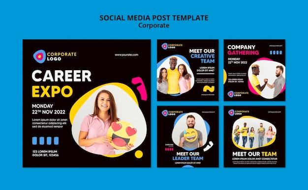 Coleção de postagens do instagram para equipe corporativa criativa