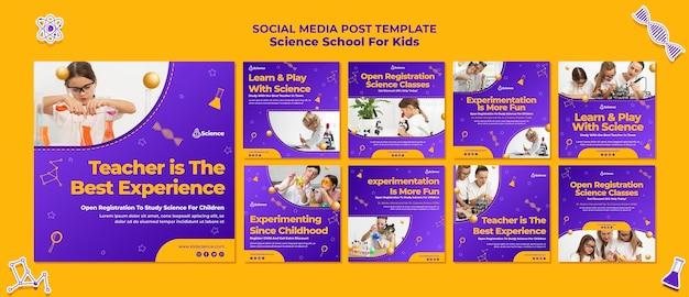 Coleção de postagens do instagram para escola de ciências para crianças