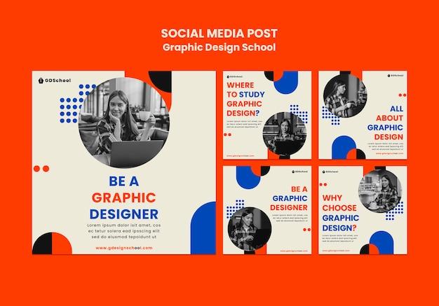 Coleção de postagens do instagram para escola de design gráfico