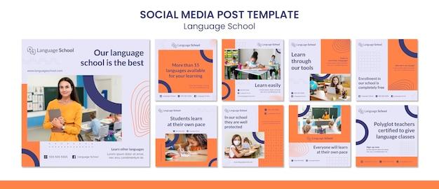 Coleção de postagens do instagram para escola de idiomas