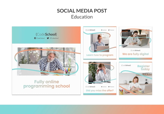 Coleção de postagens do instagram para escola de programação online