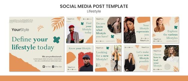 Coleção de postagens do instagram para estilo de vida pessoal