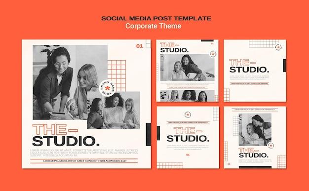 Coleção de postagens do instagram para estúdio corporativo