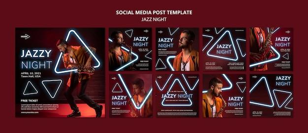 Coleção de postagens do instagram para evento noturno de jazz neon
