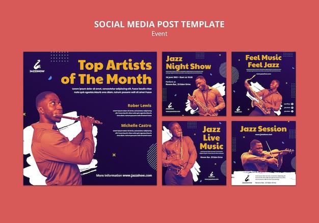 Coleção de postagens do instagram para eventos de jazz