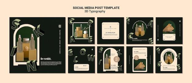 Coleção de postagens do instagram para exibição de garrafas de óleo essencial com letras tridimensionais
