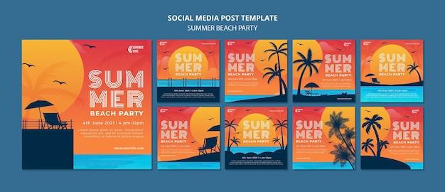 Coleção de postagens do instagram para festa de verão na praia