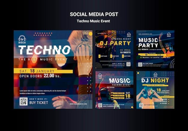 Coleção de postagens do instagram para festa noturna de música techno