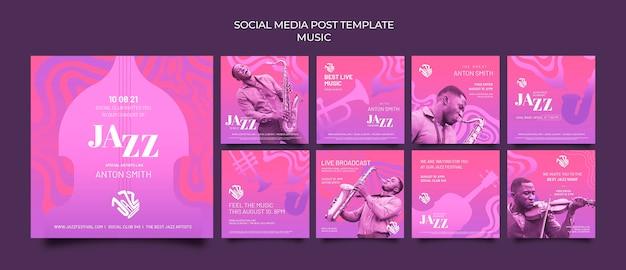 Coleção de postagens do instagram para festival de jazz e clube