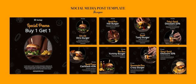 Coleção de postagens do instagram para hambúrguer bistrô