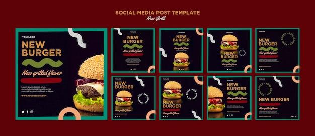 Coleção de postagens do instagram para hamburguerias