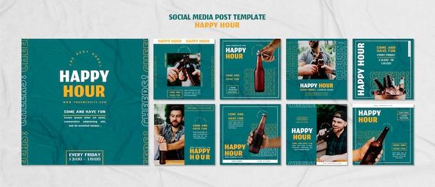 Coleção de postagens do instagram para happy hour