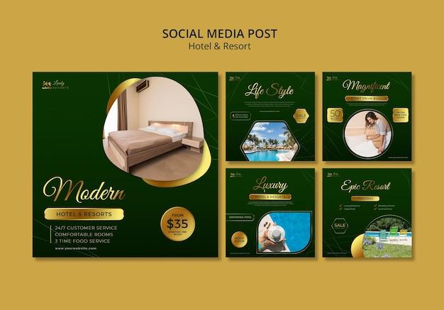 Coleção de postagens do instagram para hotéis e resorts