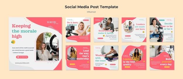 Coleção de postagens do instagram para influenciadora feminina nas redes sociais