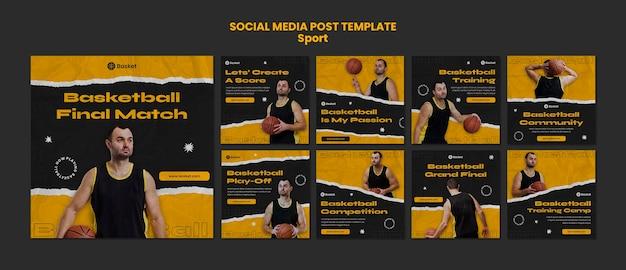 Coleção de postagens do instagram para jogo de basquete com jogador masculino
