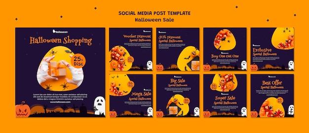 Coleção de postagens do instagram para liquidação de halloween Psd grátis