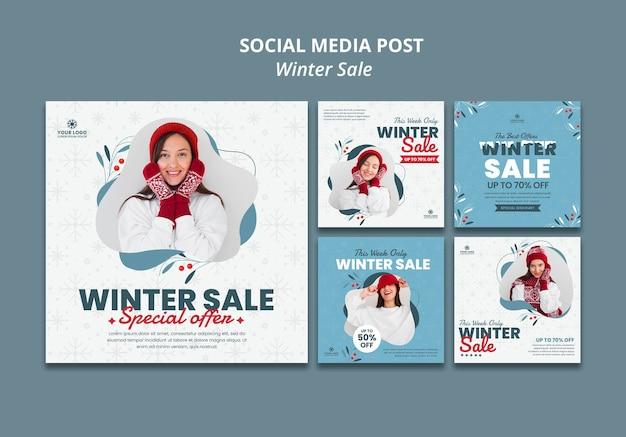 Coleção de postagens do instagram para liquidação de inverno