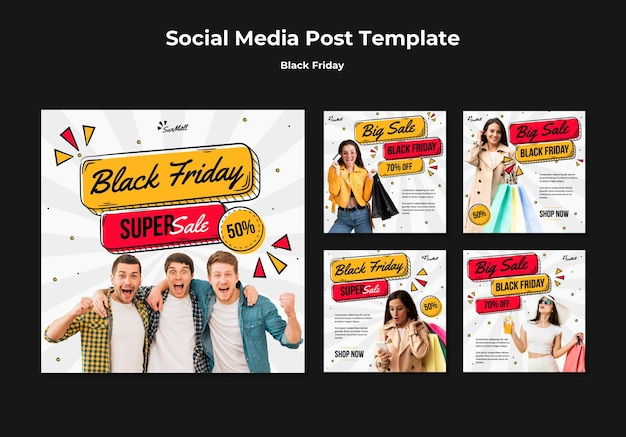 Coleção de postagens do instagram para liquidação na sexta-feira negra