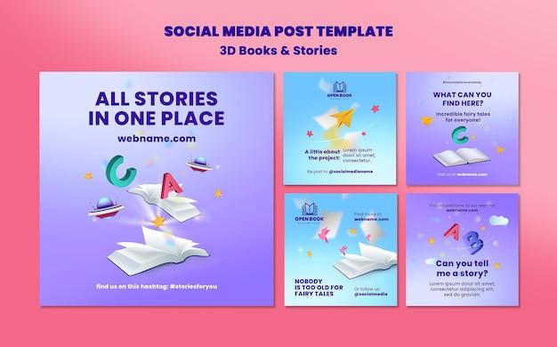 Coleção de postagens do instagram para livros com histórias e cartas