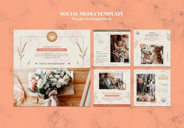 Coleção de postagens do instagram para loja de arranjos florais