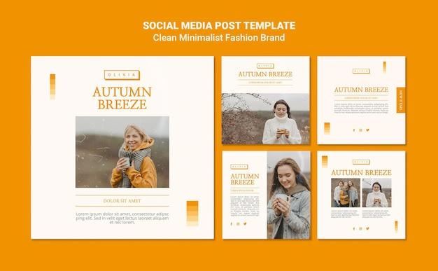 Coleção de postagens do instagram para marca de moda de outono minimalista