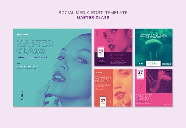 Coleção de postagens do instagram para masterclass