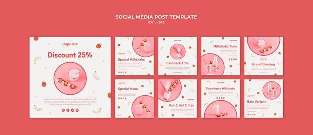 Coleção de postagens do instagram para milkshake de morango