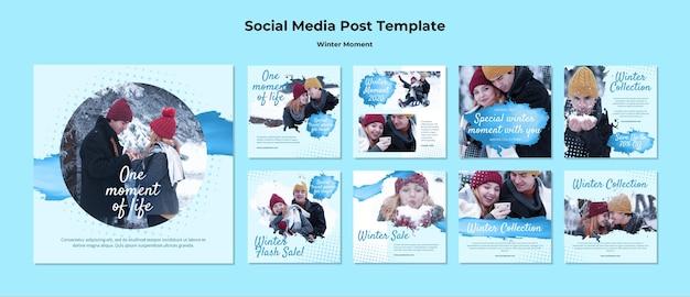 Coleção de postagens do instagram para momentos de casal de inverno