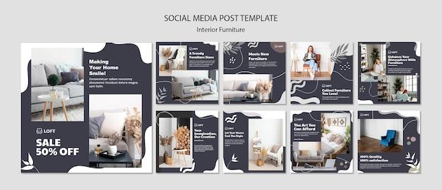 Coleção de postagens do instagram para móveis de design de interiores