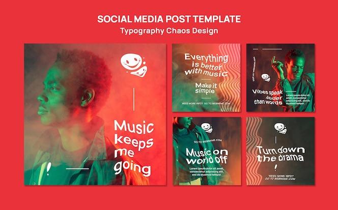 Coleção de postagens do instagram para música com homem e névoa