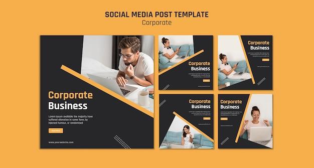 Coleção de postagens do instagram para negócios corporativos