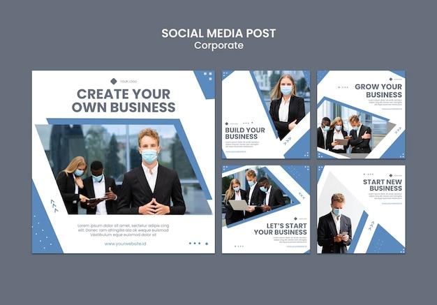 Coleção de postagens do instagram para negócios profissionais