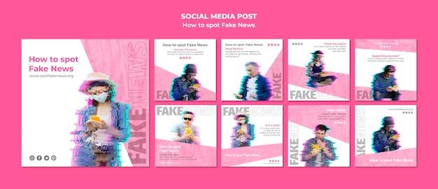 Coleção de postagens do instagram para notícias falsas