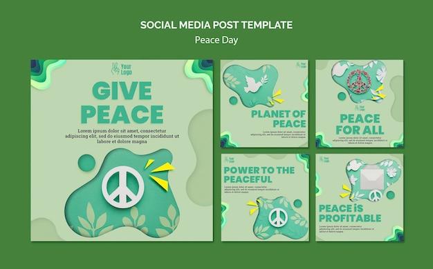 Coleção de postagens do instagram para o dia internacional da paz