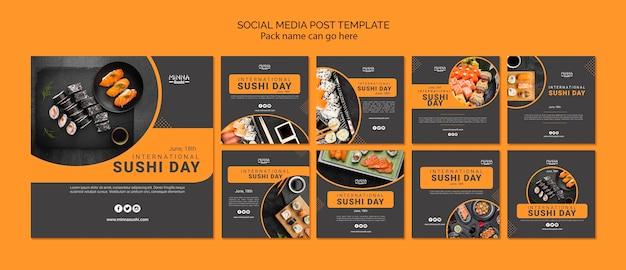 Coleção de postagens do instagram para o dia internacional do sushi