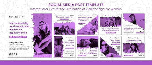 Coleção de postagens do instagram para o dia internacional pela eliminação da violência contra as mulheres