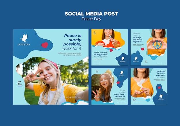 Coleção de postagens do instagram para o dia mundial da paz