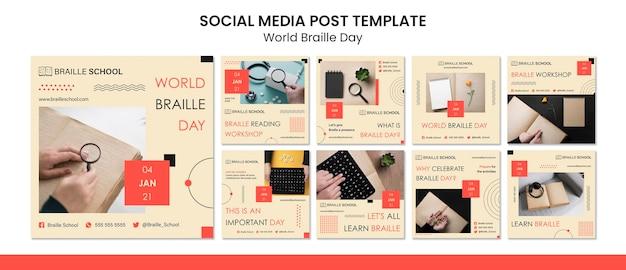 Coleção de postagens do instagram para o dia mundial do braille