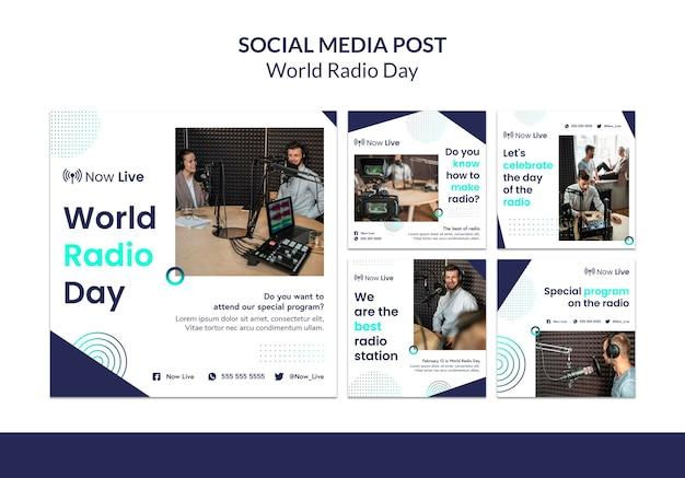Coleção de postagens do instagram para o dia mundial do rádio
