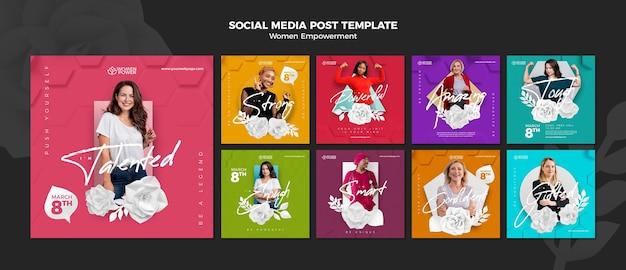 Coleção de postagens do instagram para o empoderamento das mulheres com palavras de incentivo