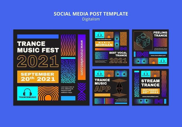 Coleção de postagens do instagram para o festival de música trance de 2021