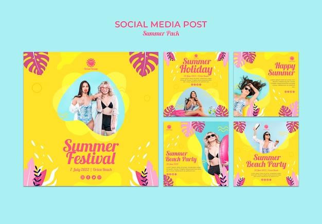 Coleção de postagens do instagram para o festival de verão