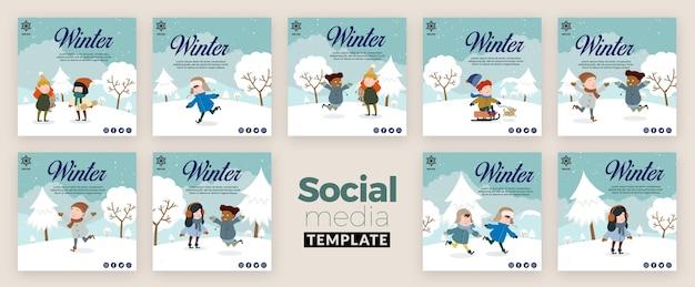 Coleção de postagens do instagram para o inverno com crianças