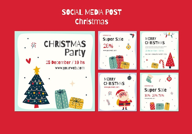 Coleção de postagens do instagram para o natal